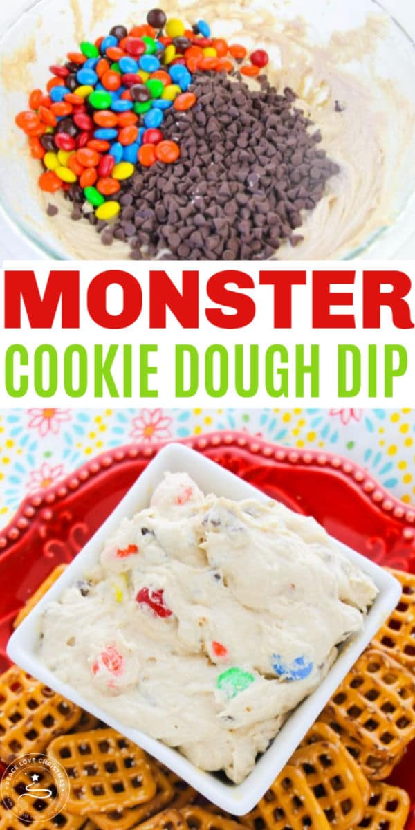 a collage of ingredients to make Cream Cheese Monster Cookie Dough Dip, and the dip in a white dish next to pretzels on a red plate on a multi-colored cloth