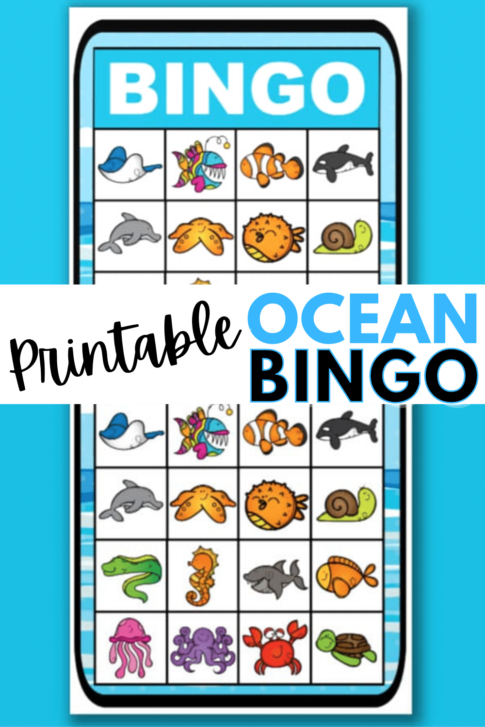 This printable ocean bingo game is great for tropical themed parties. Six unique bingo cards make this a great kids activity. #bingo #printables #ocean via @wondermomwannab