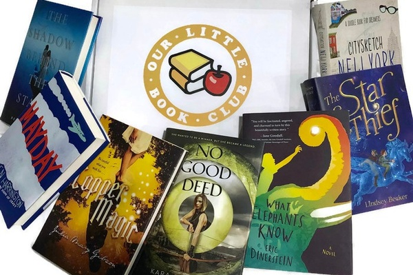 several books around a box from Our Little Book Club, one of The 17 Best Monthly Book Clubs for Kids