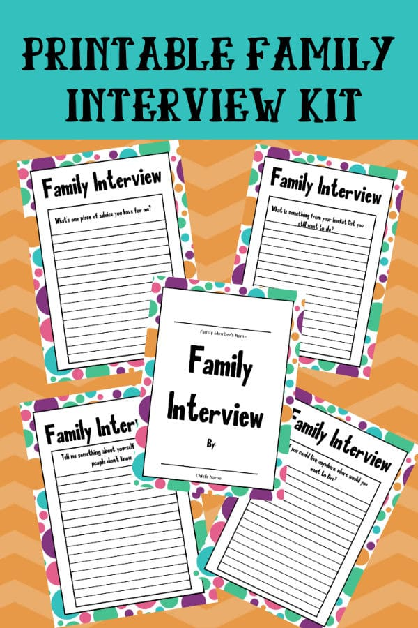 This 14-page printable family interview pack is the perfect way for kids to get to know their older relatives better and hear family stories. #printables #familyinterview #freeprintables via @wondermomwannab