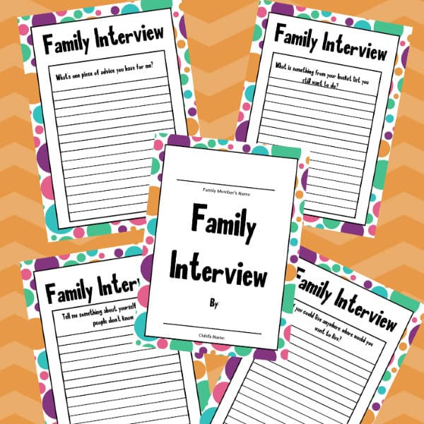 printable family interview pack on an orange striped background