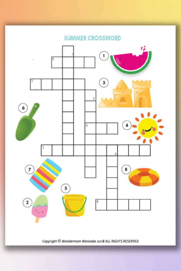 printable summer crossword puzzle for kids
