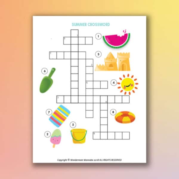 printable summer crossword puzzle for kids on a yellow and orange background