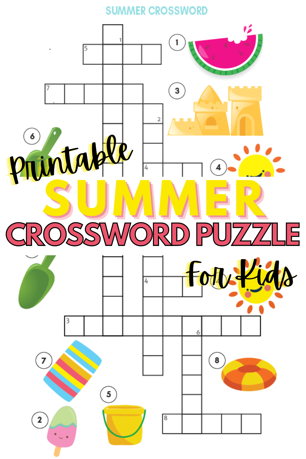 This printable summer crossword puzzle for kids is perfect for hot summer days when going outdoors isn't an option. Easy puzzle that kids will love. #crosswordpuzzles #printables #summer via @wondermomwannab