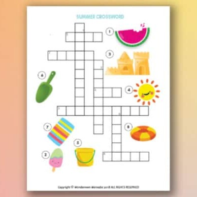 easy printable summer crossword puzzle for kids