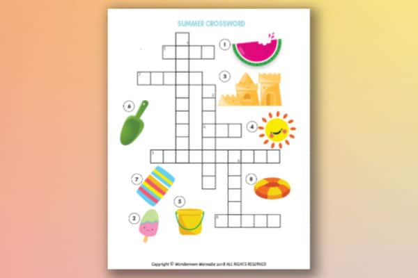 easy printable summer crossword puzzle for kids on an orange and yellow background