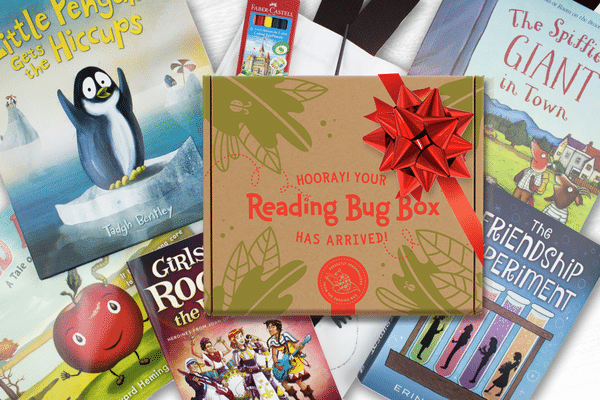 a reading bug box surrounded by books