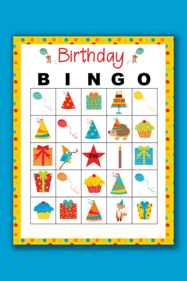 printable Birthday Bingo on a blue background