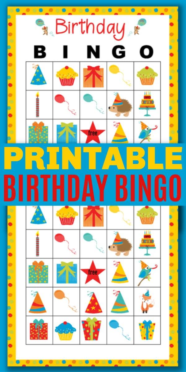 printable Birthday Bingo on a blue background with title text reading Printable Birthday Bingo