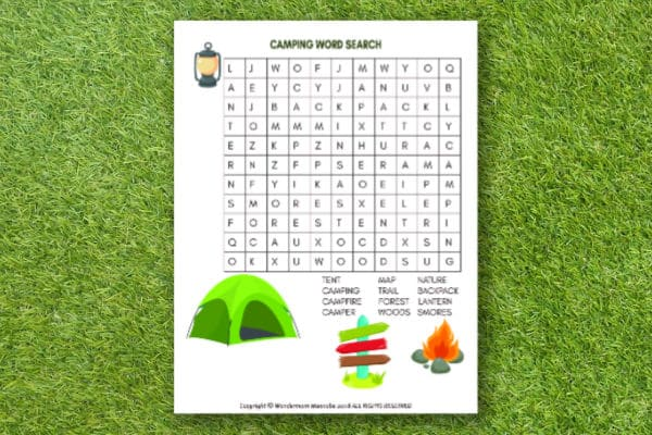 printable Camping Word Search for Kids with grass in the background