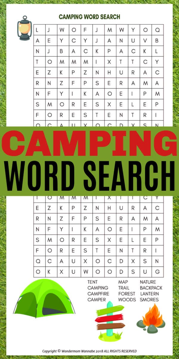 printable Camping Word Search for Kids with title text reading Camping Word Search