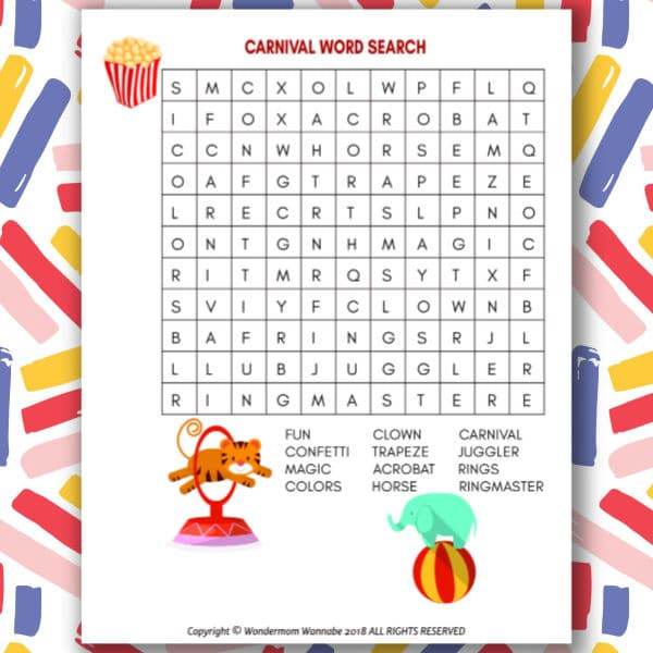 printable Carnival Word Search for Kids on a colorful background