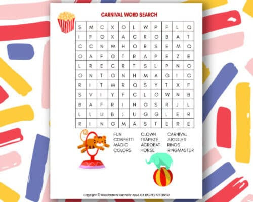 printable Carnival Word Search for Kids
