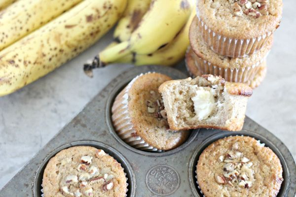 Cream Cheese Filled Banana Bread Muffins