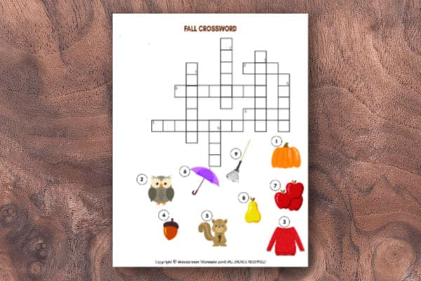printable Fall Crossword Puzzle for Kids on a wood background