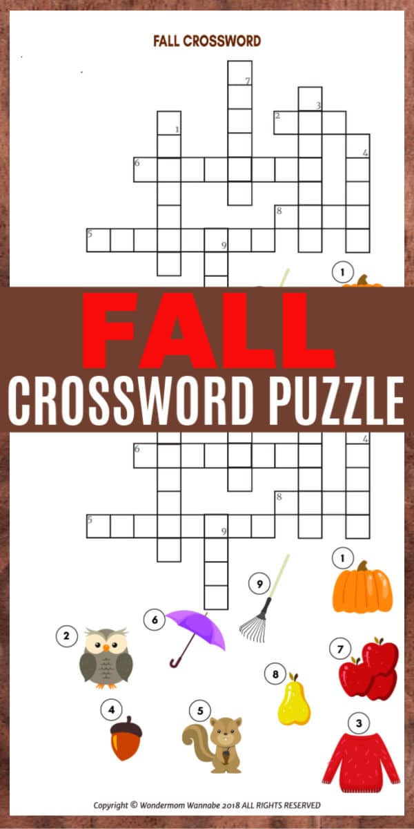 This printable fall crossword puzzle for kids is a fun educational activity that children in elementary school will enjoy. #fall #crosswordpuzzle #printables via @wondermomwannab