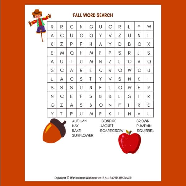 printable Fall Word Search for Kids on an orange background