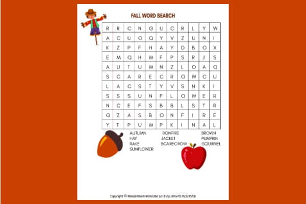 Fall Word Search for Kids on an orange background