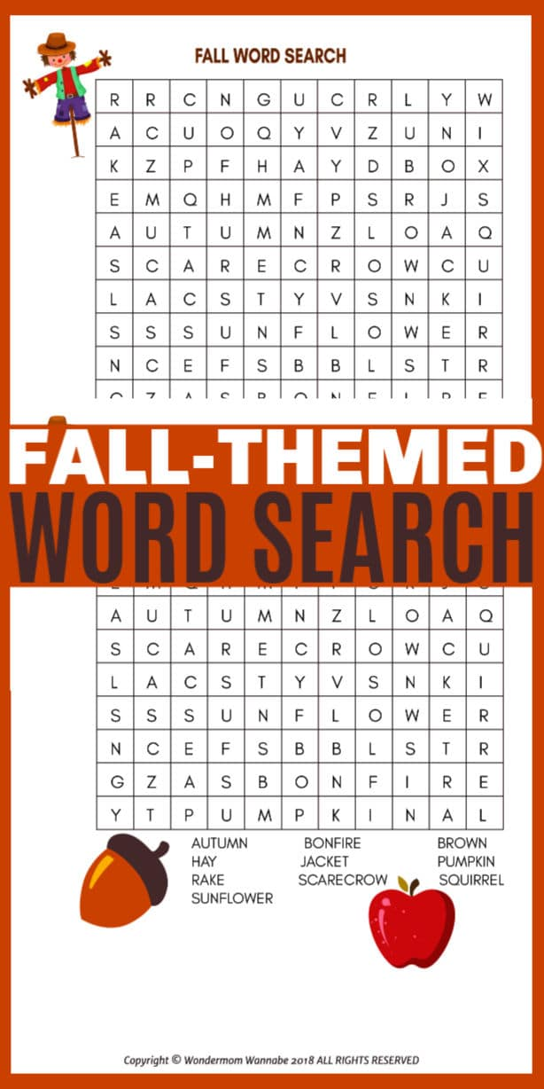 A printable fall word search is a great activity for kids. Full of fall-themed words this is a fun and educational kids printable for home or school. #fall #printables #wordsearch via @wondermomwannab
