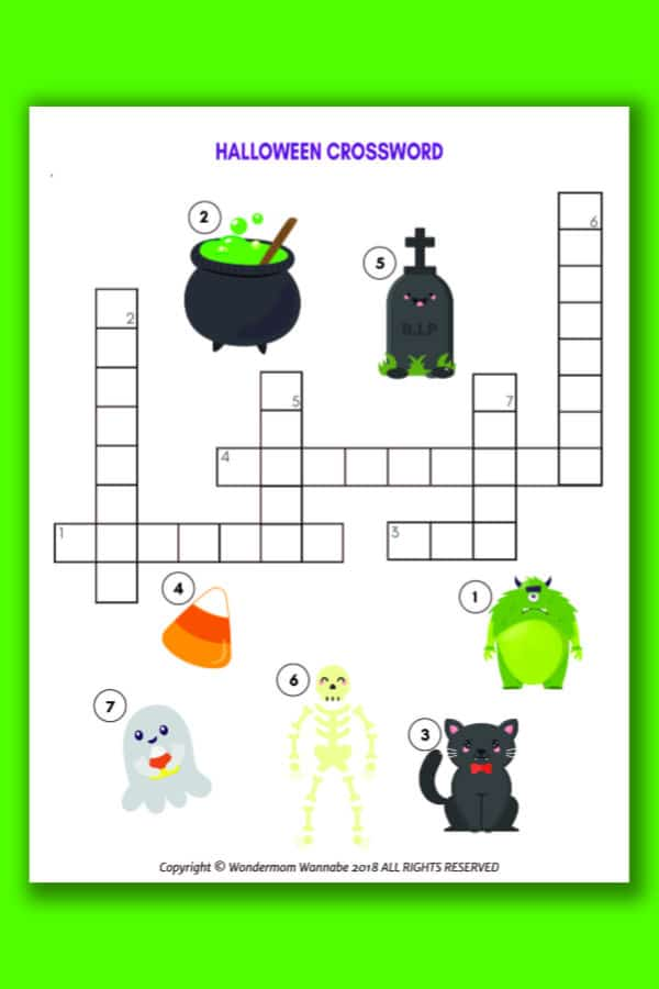 Halloween Crossword Puzzle for Kids