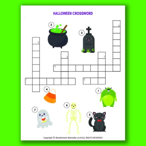 printable Halloween Crossword Puzzle for Kids on a green background
