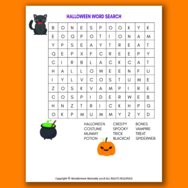 printable Halloween Word Search for Kids on an orange background