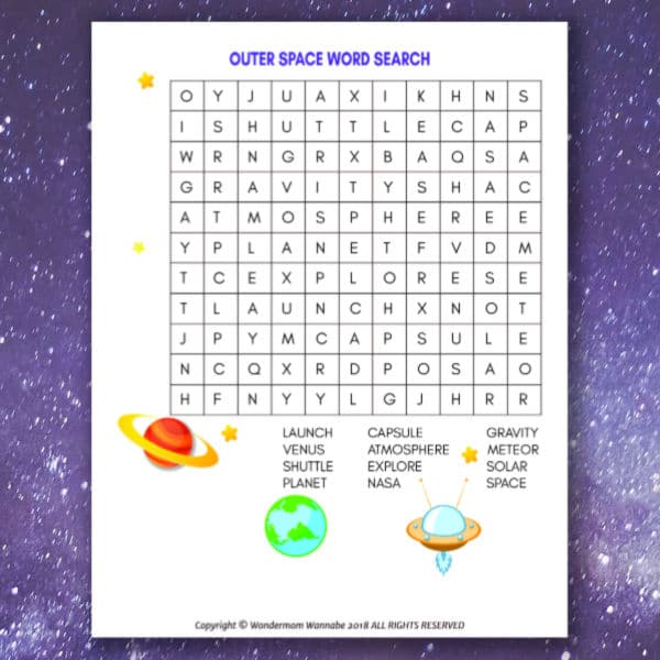 printable Outer Space Word Search for Kids on a space background