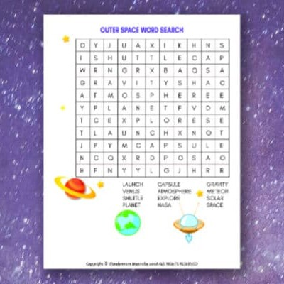 Outer Space Word Search for Kids