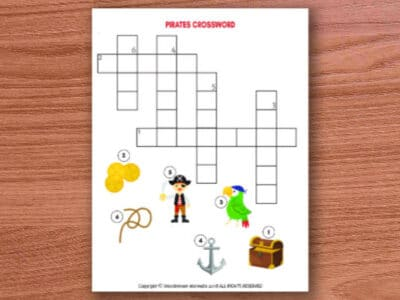 printable pirates crossword puzzle for kids