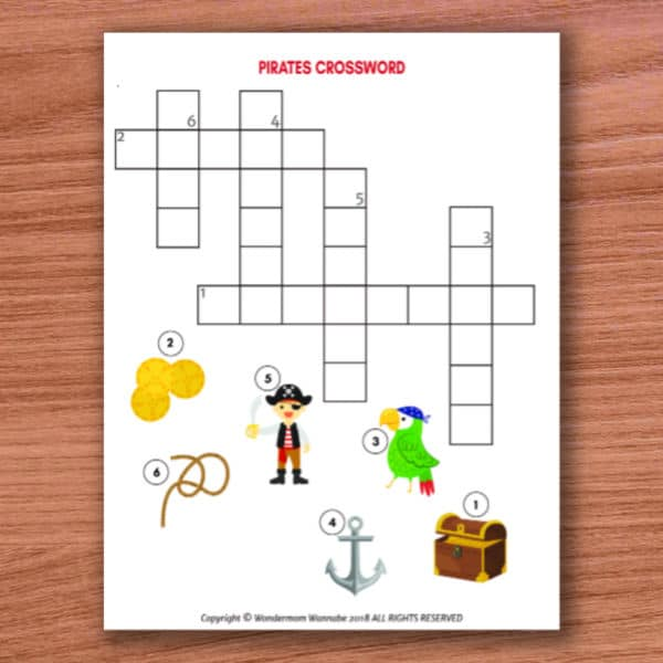 printable pirates crossword puzzle for kids on a wood background