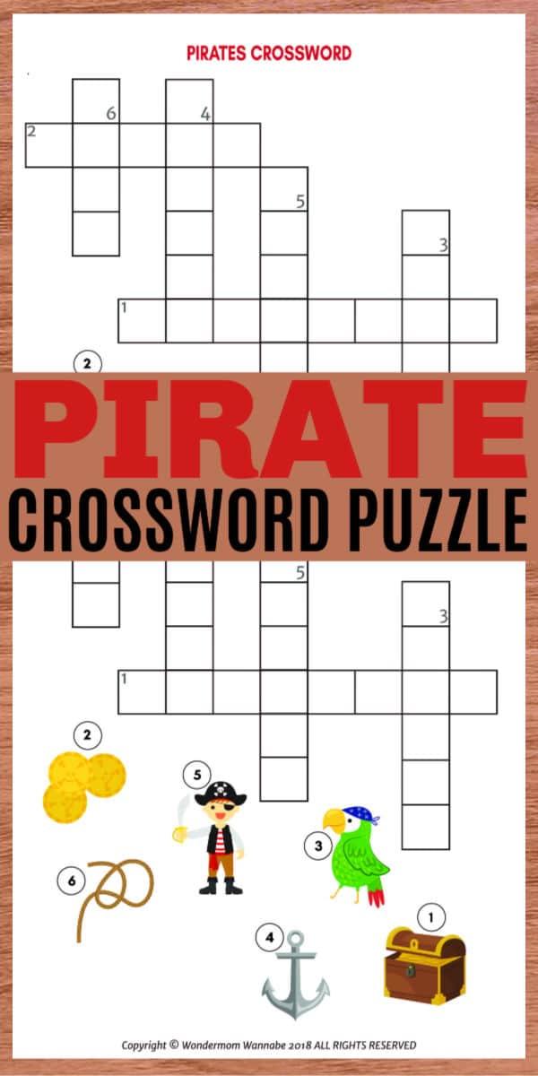 printable pirates crossword puzzle for kids