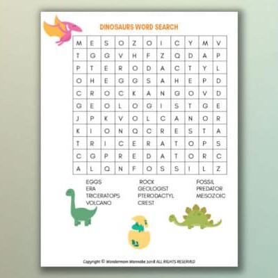 printable dinosaur word search for kids