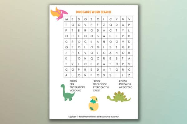 printable dinosaur word search for kids