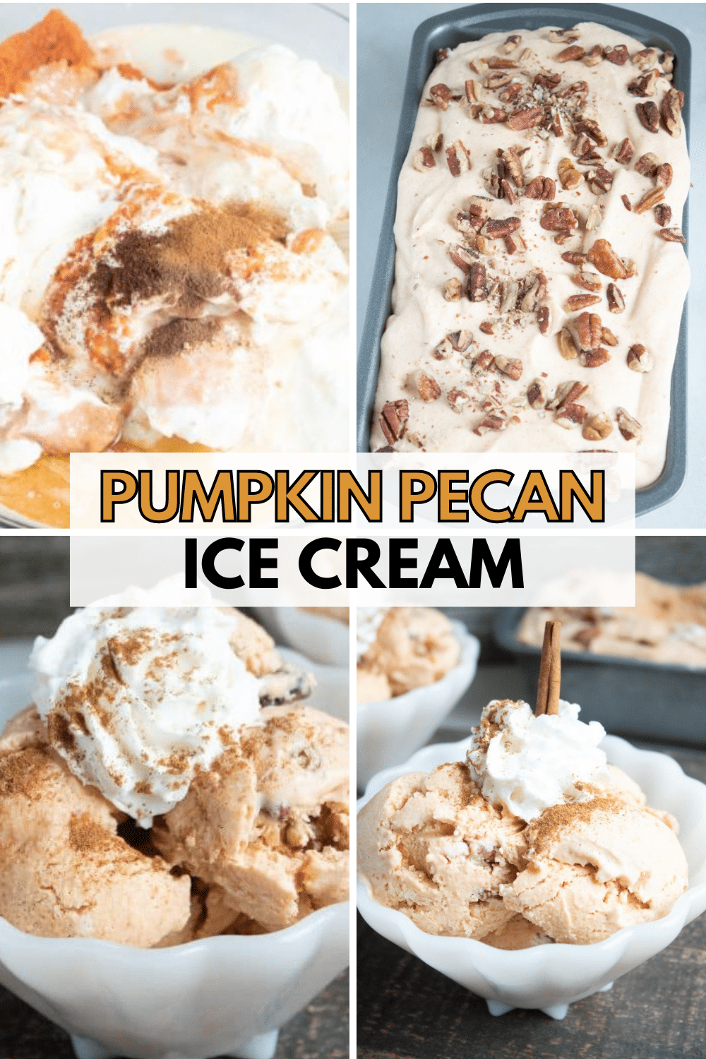 Homemade pumpkin pecan ice cream is delicious, creamy and full of fall flavors. This is a no churn ice cream recipe made with sweetened condensed milk. #pumpkin #icecream #nochurnicecream via @wondermomwannab