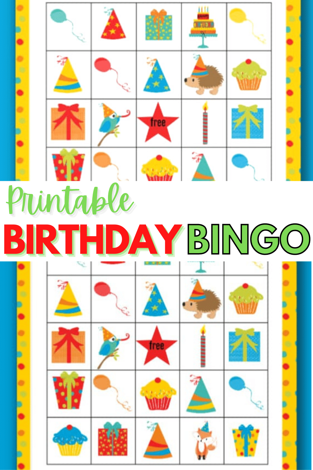 Printable birthday bingo cards are a fun way to keep kids entertained at a home birthday party. These brightly colored cards are perfect for boys or girls. #bingo #printables #birthdayparties via @wondermomwannab