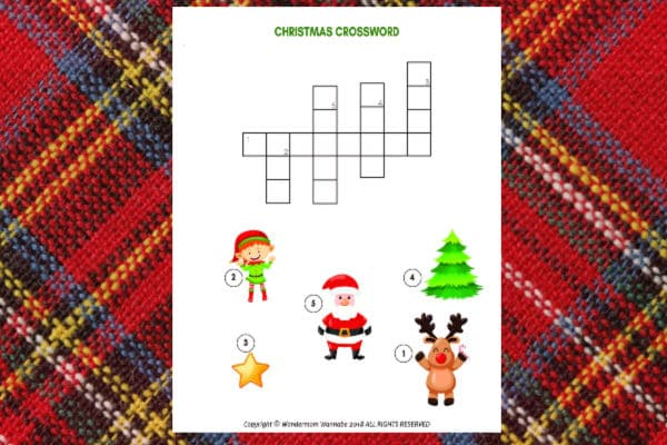 printable Christmas Crossword Puzzle for Kids on a red plaid background