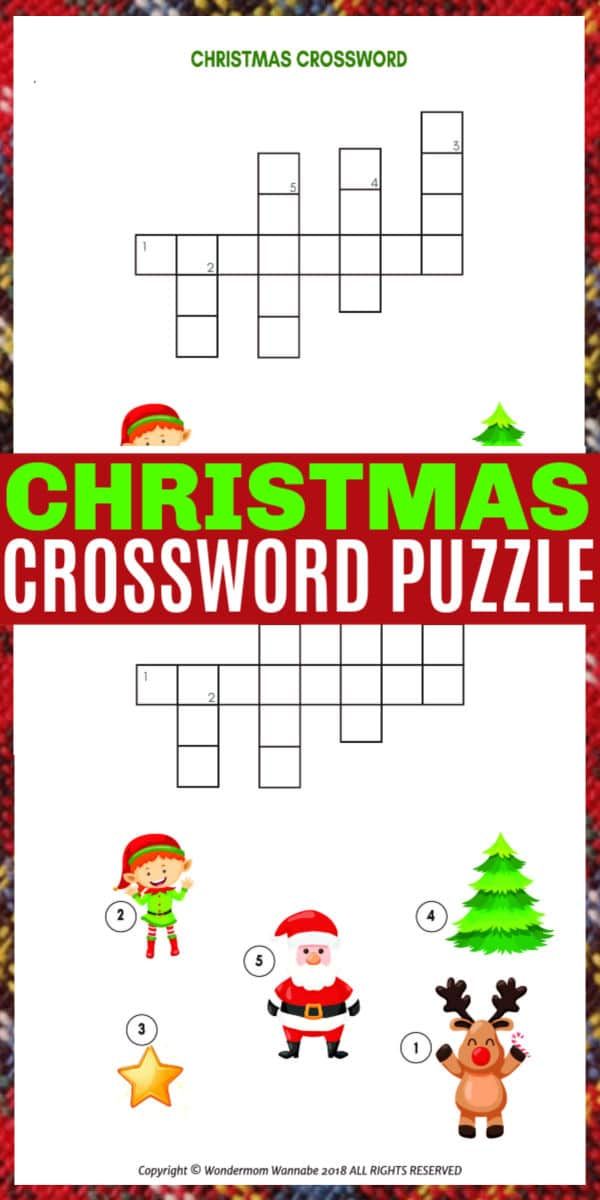 This fun and educational printable Christmas Crossword Puzzle for Kids would be a great activity for a class at school or to do at home during the holidays. #crosswordpuzzle #printables #christmas #forkids via @wondermomwannab