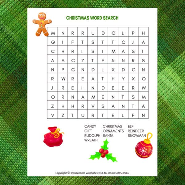 printable Christmas Word Search for Kids on a green background