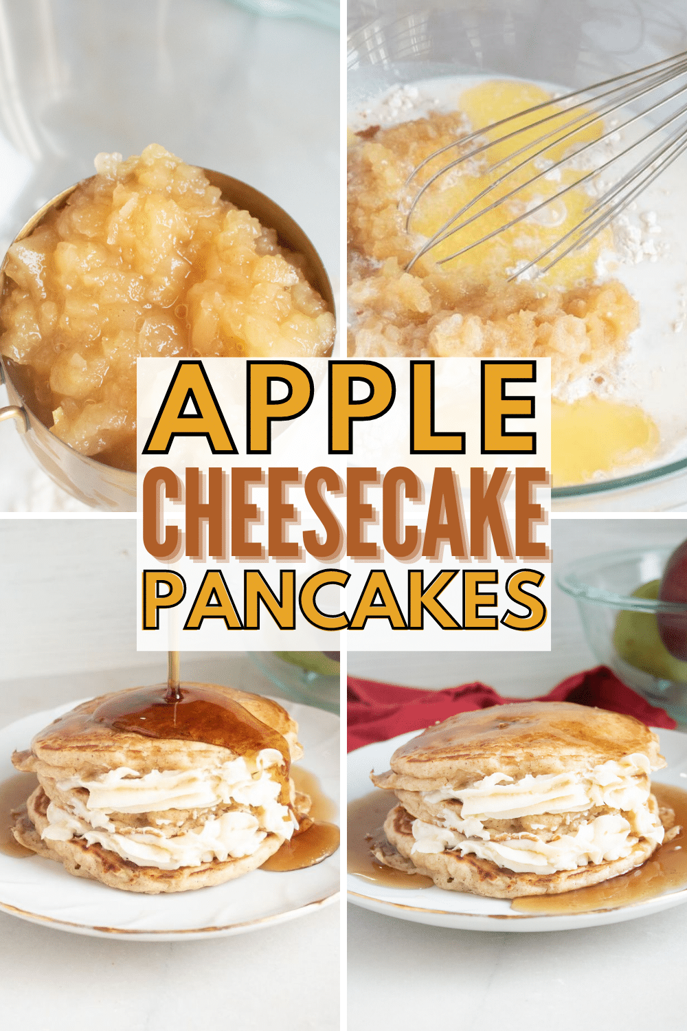 Apple Cheesecake Pancakes are a delicious breakfast treat. Cream cheese filling sandwiched between pancakes made with applesauce is delightful. #pancakes #breakfast #breakfastrecipes via @wondermomwannab
