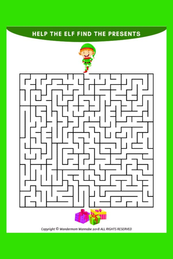 printable Christmas maze for kids on a green background