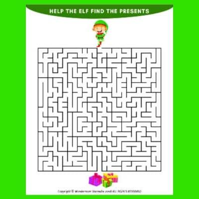 printable Christmas maze for kids
