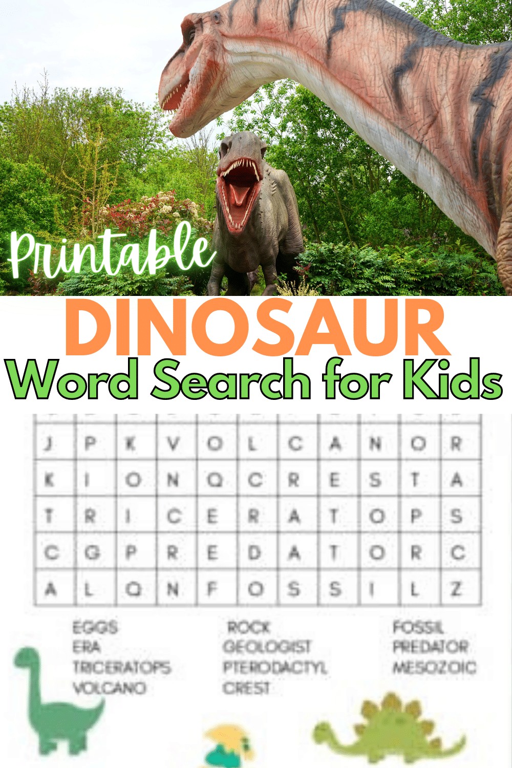 This free printable dinosaur word search for kids is fun and perfect for those dinosaur-obsessed kids. A great educational activity that is all about dinos. #dinosaurs #wordsearch #printables via @wondermomwannab