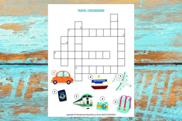 travel crossword puzzle for kids