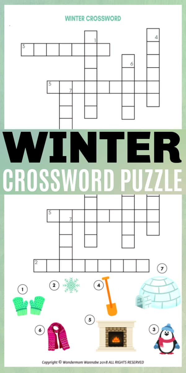 This printable winter crossword puzzle for kids is a great children's activity to complete on those cold winter days when staying indoors is required. #crosswordpuzzle #printables #winter via @wondermomwannab