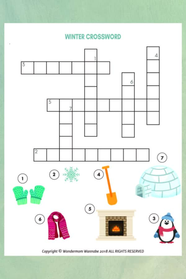 printable winter crossword puzzle for kids on a green background