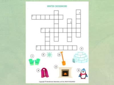 winter crossword puzzle for kids