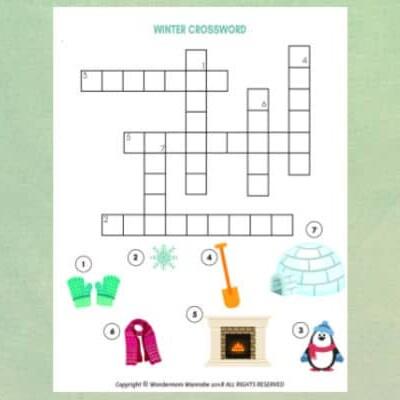 winter crossword puzzle for kids
