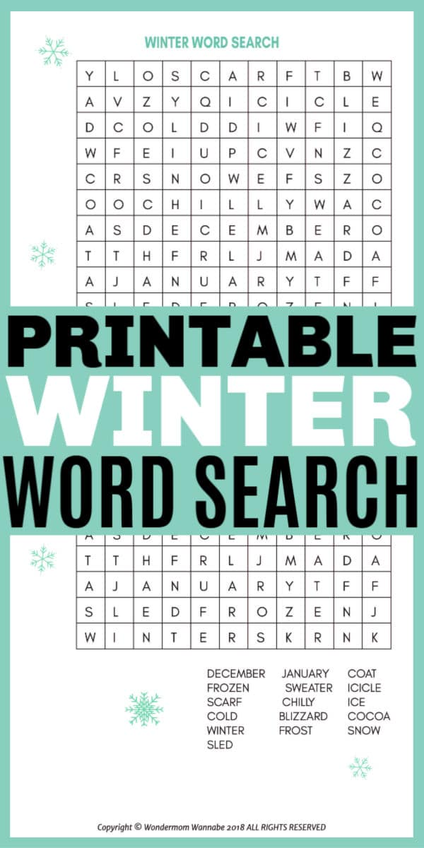 This printable winter word search for kids is a fun way to work on winter-themed words. This activity sheet for children is perfect for home or school. #printables #wordsearch #winteractivities via @wondermomwannab
