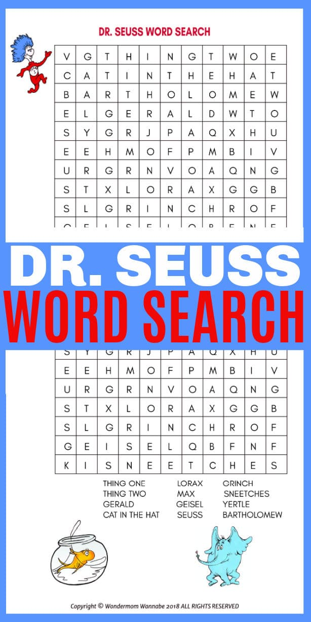 A printable Dr. Seuss word search for kids is the perfect children's activity to celebrate Read Across America and Dr. Seuss Day. #drseuss #printables #wordsearch via @wondermomwannab