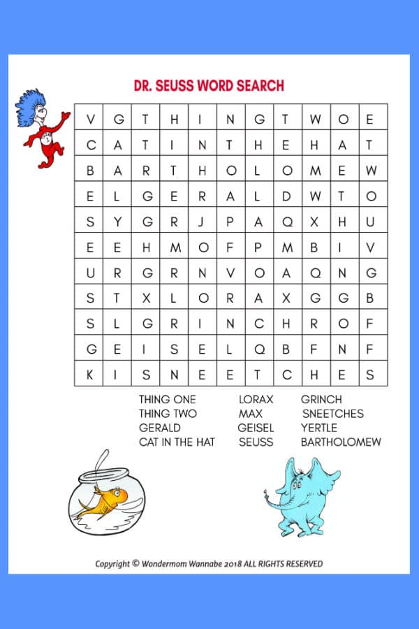 printable Dr. Seuss Word Search for Kids on a blue background